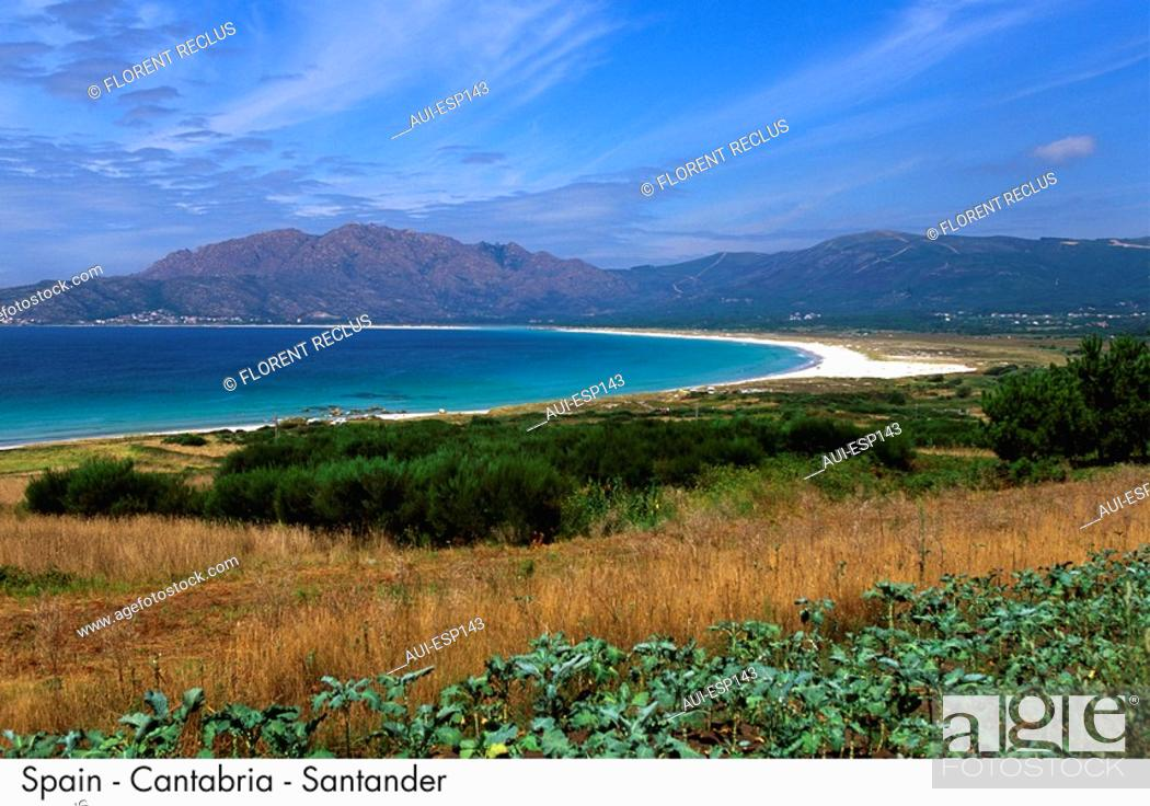 Stock Photo: Spain - Galicia - Rias Baras - Carnota Beach Spain.