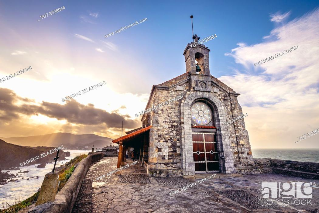 Stock Photo: Small church fo San Juan hermitage on Gaztelugatxe islet in on the coast of Biscay province of Spain.