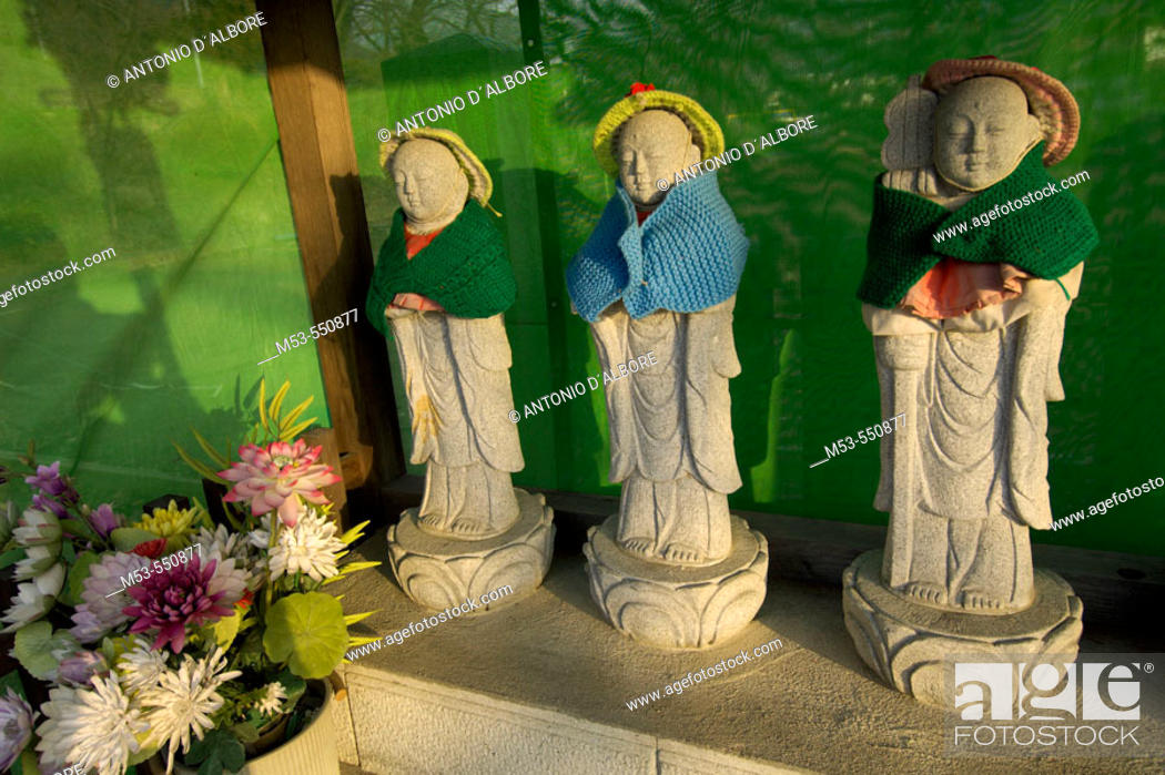 Stock Photo: Concrete statue at the Sensoji temple. Yudanaka. Nagano prefecture. Chubu Region. Japan.