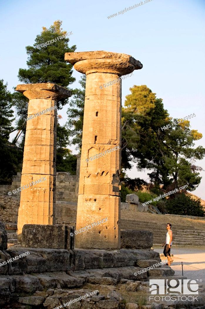 Stock Photo: Greece, Peloponnese Region, Olympia, listed as World Heritage by UNESCO, the Hera Temple.
