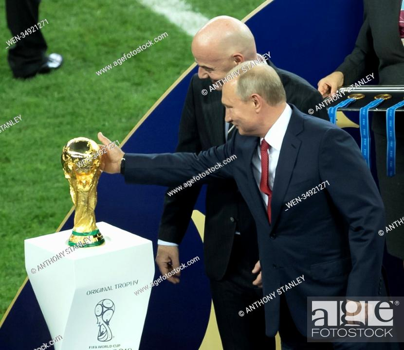 Stock Photo: 2018 FIFA World Cup Final: France v Croatia Featuring: Gianni Infantino, Vladimir Putin Where: Moscow, Russian Federation When: 15 Jul 2018 Credit: Anthony.