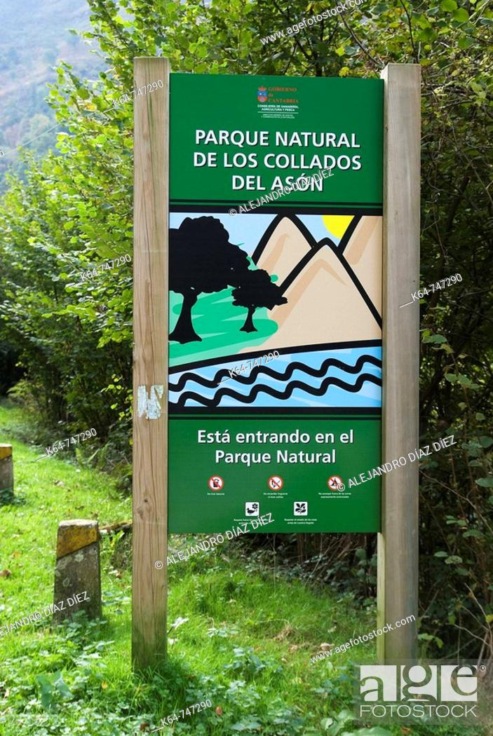 Stock Photo: Parque Natural de los Collados del Asón, natural park, sign along the road. Cantabria, Spain.