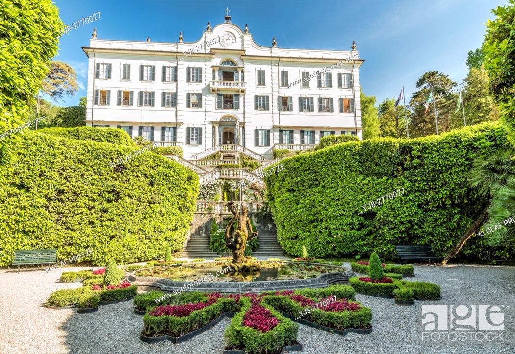 Stock Photo: Fountain at Villa Carlotta in Tremezzina at Lake Como, Lombardy, Italy.