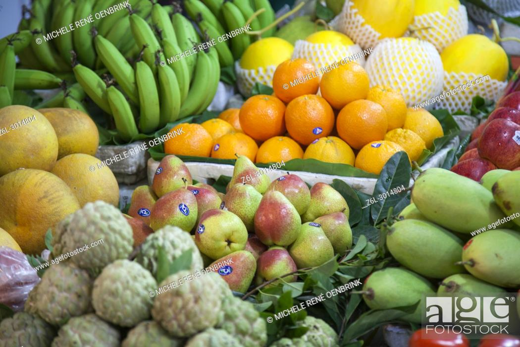 Stock Photo: fresh fruits and vegetables for sale in the market store on the streets of Hanoi, Vietnam.
