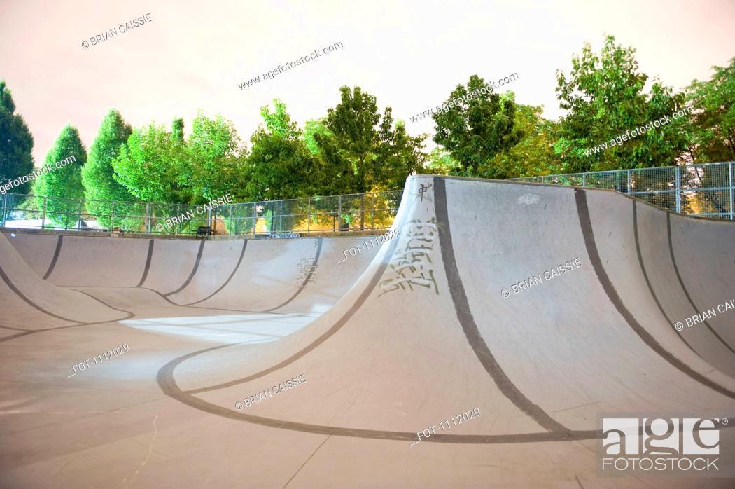 Stock Photo: An empty skateboard park.