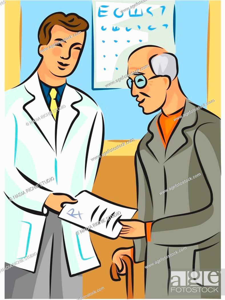 Stock Photo: Doctor handing a prescription to an elderly man.
