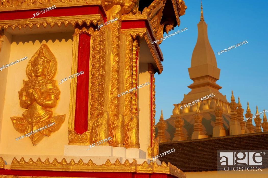 Stock Photo: Laos, Vientiane city, Pha That Luang stupa.