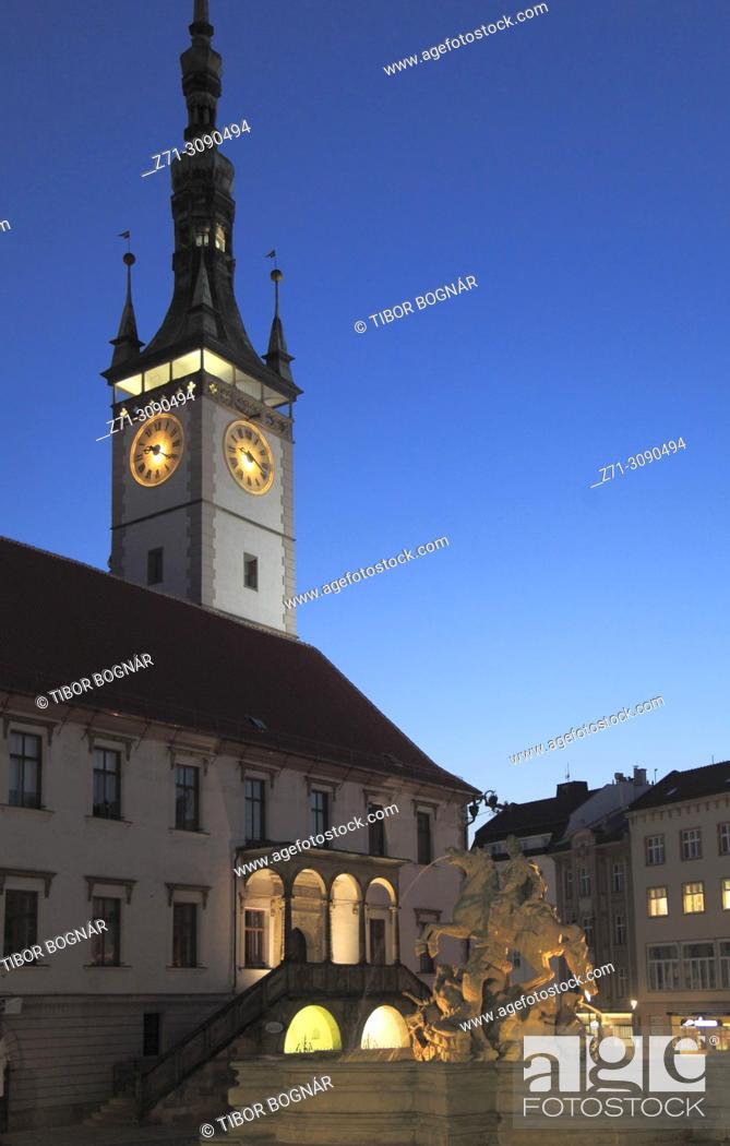 Stock Photo: Czech Republic, Moravia, Olomouc, Town Hall, Clock Tower, Caesar's Fountain, .
