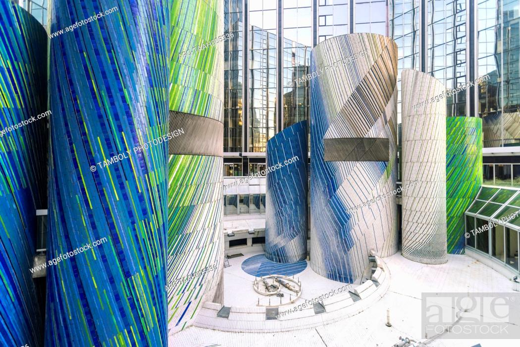 Photo de stock: Modern architecture and towers, skyscrapers in La Defense. La Defense is a major business district, three kilometers west of the city limits of Paris, France.