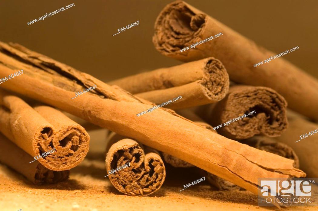 Stock Photo: pile of cinnamon sticks.