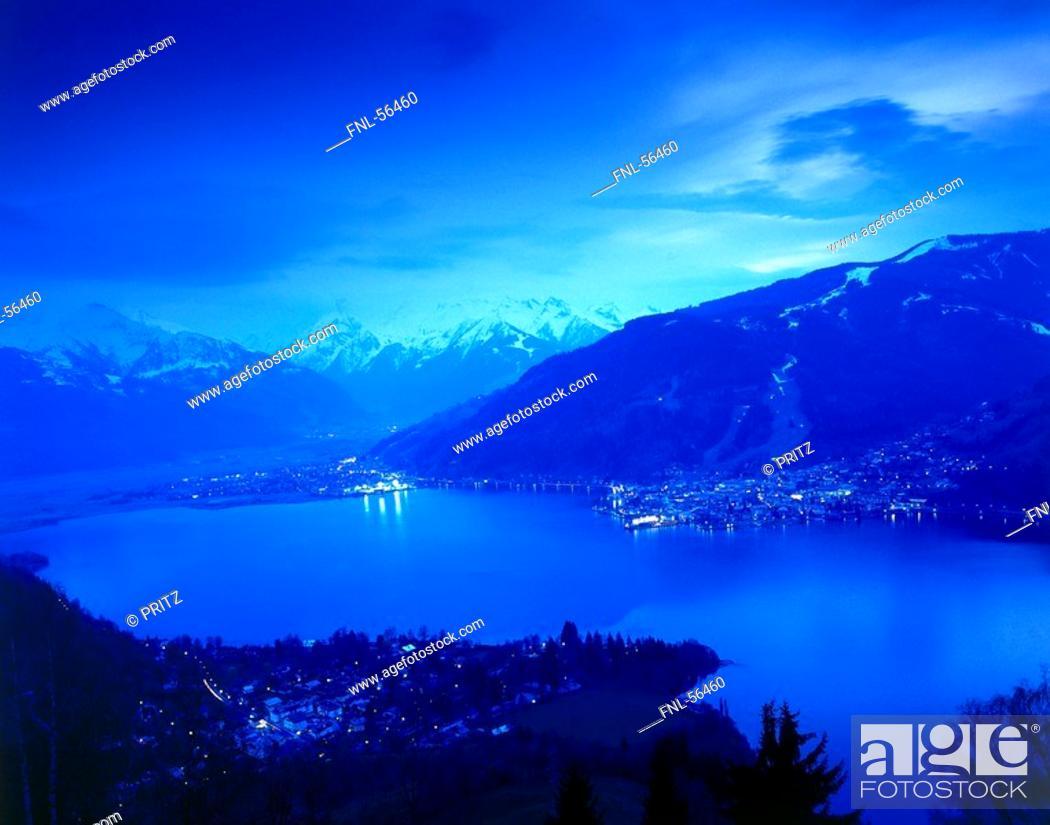 Stock Photo: High angle view of a lake.