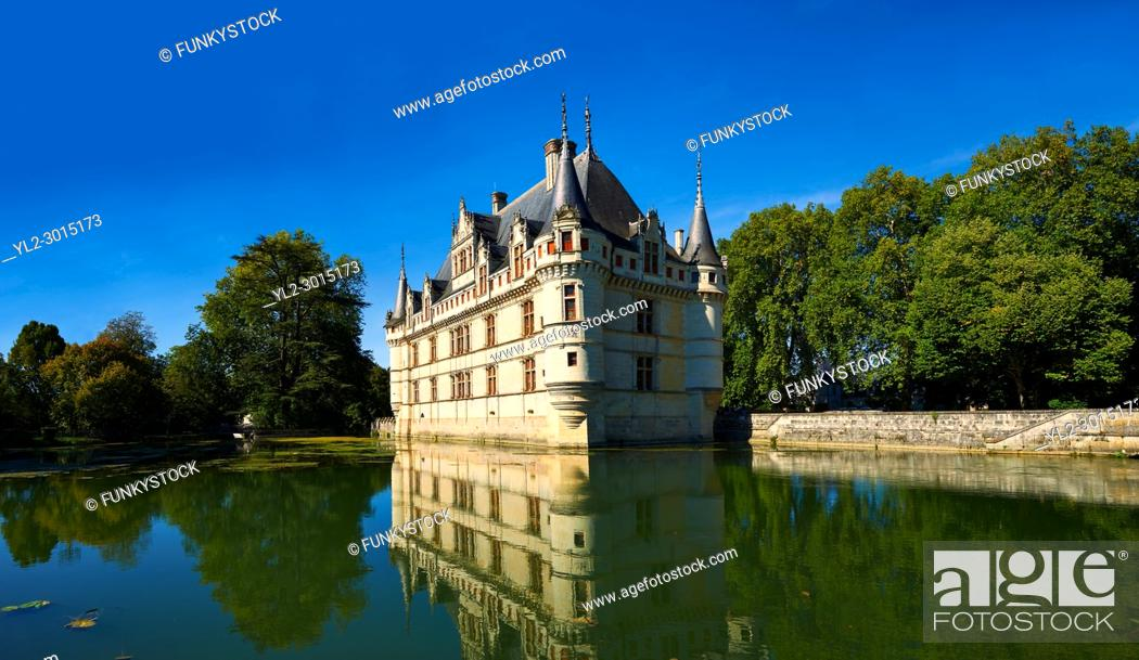 Stock Photo: Exterior of the Renaissance Château d'Azay-le-Rideau with its River Indre moat, Built between 1518 and 1527, , Loire Valley, France.
