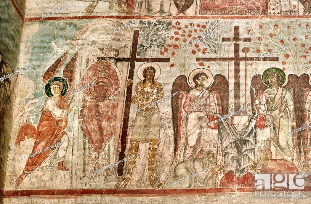 Stock Photo: Pictures & imagse of the interior frescoes depicting the Assumption of the Virgin in the Timotesubani medieval Orthodox monastery Church of the Holy Dormition.
