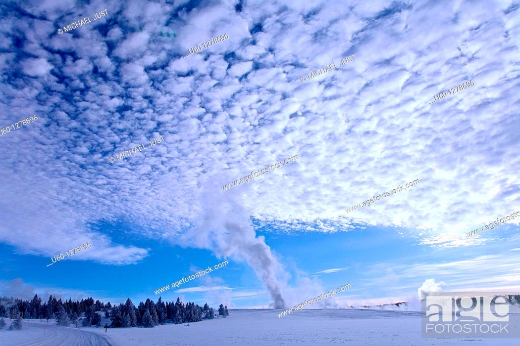 Stock Photo: Fountain Geyser erupts at the Lower Geyser Basin at Yellowstone National Park, Wyoming.