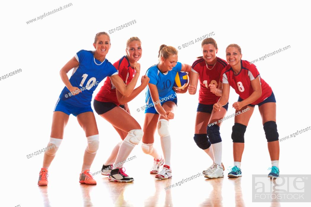 Stock Photo: volleyball game sport with group of young beautiful girls indoor in sport arena ball net.
