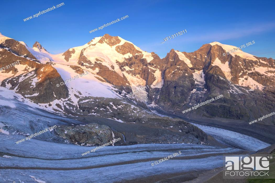 Stock Photo: Piz Bernina with Vedret Pers Glacier in the foreground. Diavolezza Refuge, Bernina Pass, Engadin, Graubünden, Switzerland, Europe.