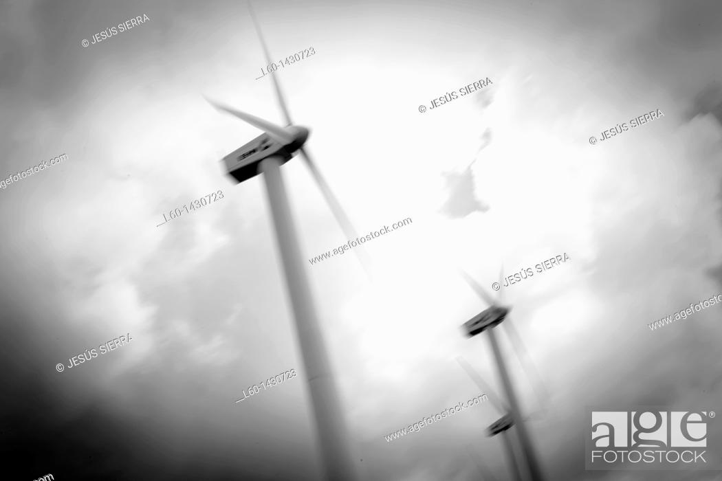 Stock Photo: Wind turbines, Pamplona, Navarre, Spain.
