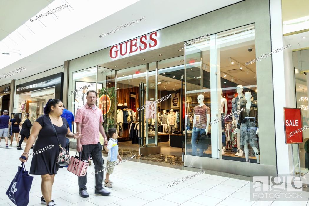 01e58f543 Stock Photo - Florida, Miami, Kendall, Dadeland Mall, shopping, Guess, clothing  fashion store, front entrance, family,