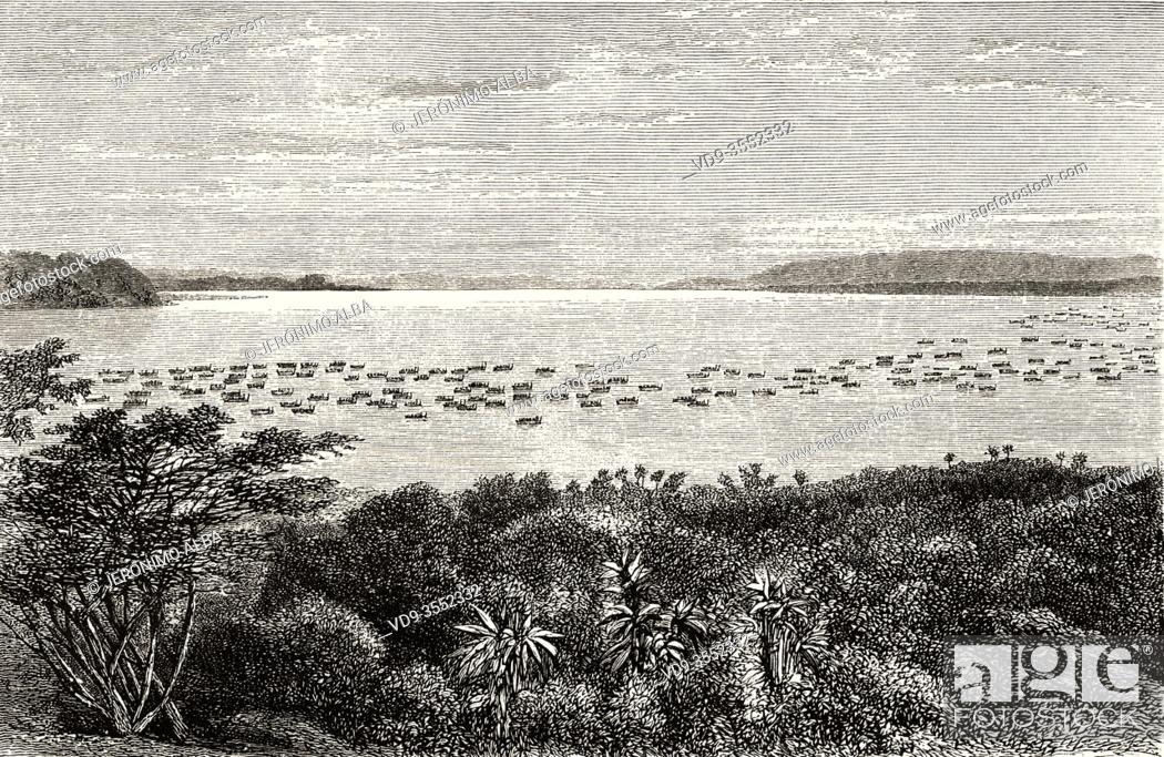 Stock Photo: Lake Victoria. Napoleon Channel seen from Ripon Waterfalls. Squad of Muteesa I of Buganda, Kabaka of the Kingdom of Buganda, that navigated from Usoga to Uganda.