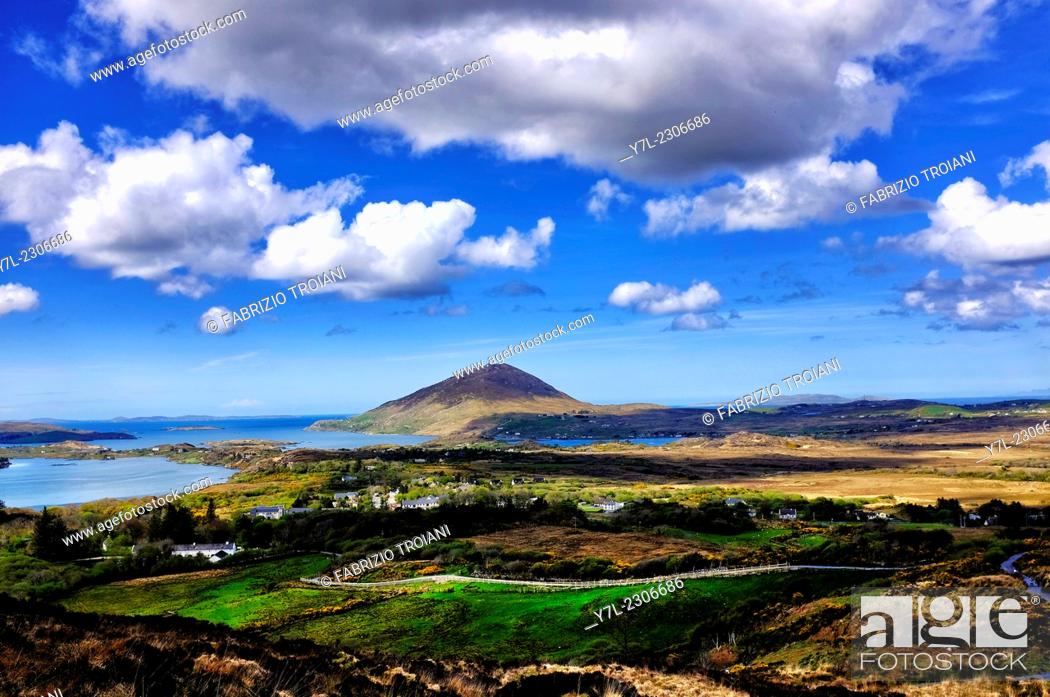 Stock Photo: View of Tully mountain from the Connemara National Park, County Galway, Ireland.