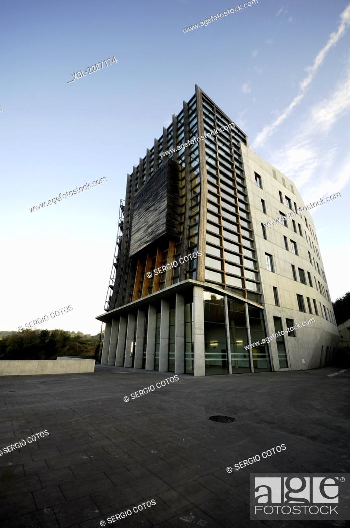 Stock Photo: Office building that generates energy for itself in San Sebastian.
