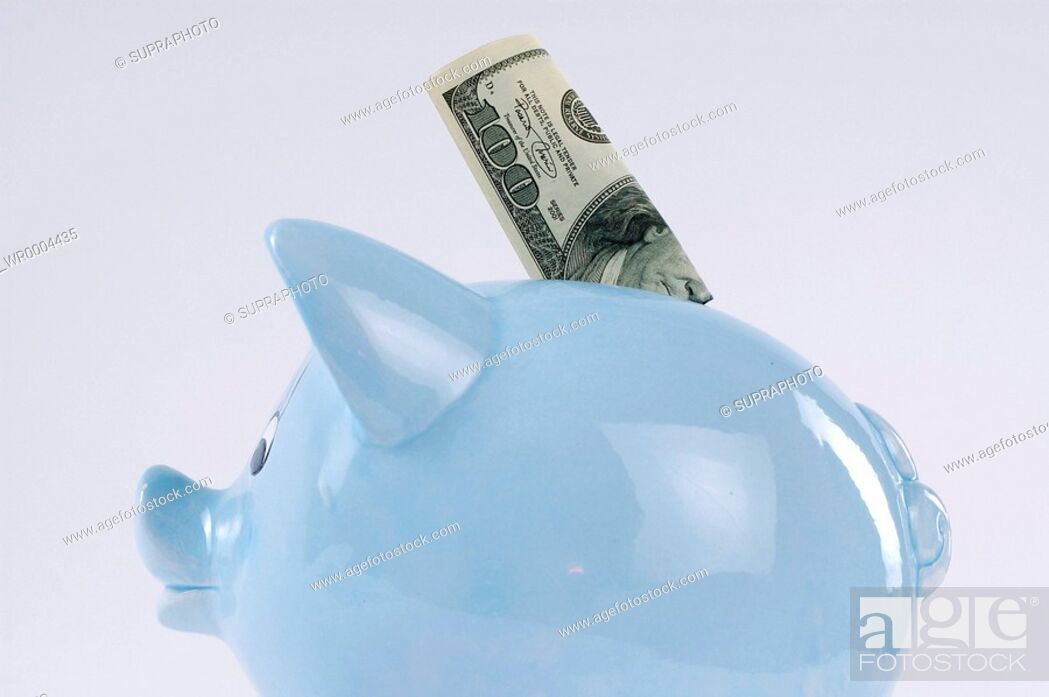 Stock Photo: Connotation, Still Life, Symbol, Blue, Object, Inside, Bank, Pig, Money, Color Image, Place, Economy, Coin, Bill