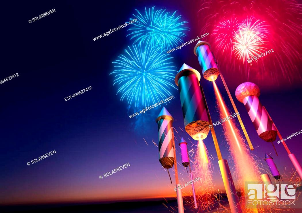 Stock Photo: Firework rockets launching into the night sky. Fireworks event background. 3D illustration.