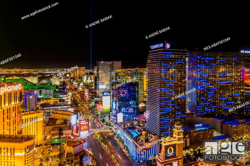 Stock Photo: USA, Nevada, Las Vegas at night.