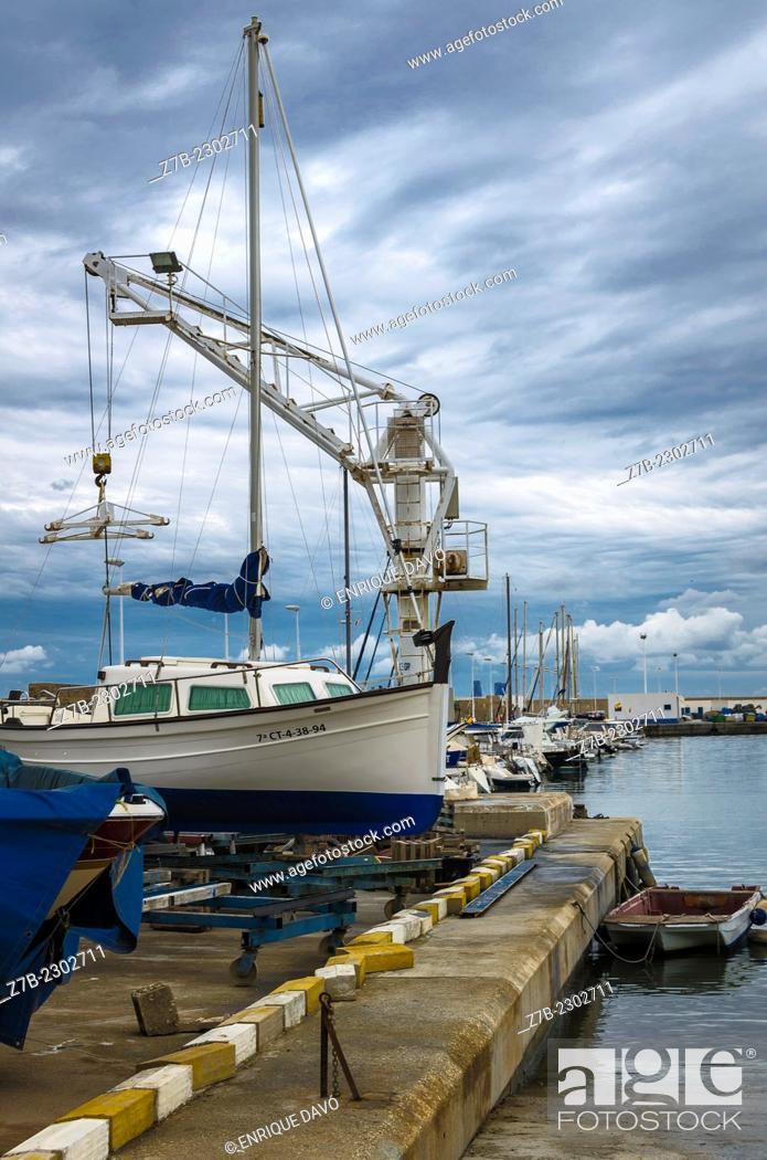 Stock Photo: Vertical view of the Altea port, Alicante north, Spain.