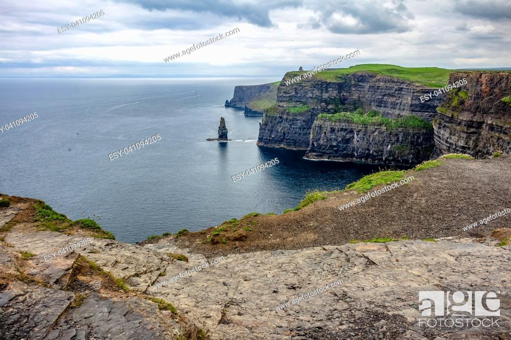 Stock Photo: View of the cliffs from the south Cliff of Moher.