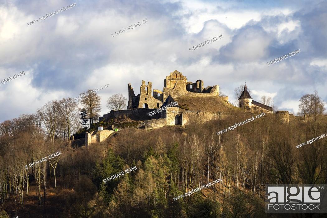 Stock Photo: Potstejn ruins in Eastern Bohemia, Czech Republic.