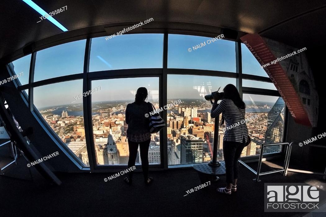 Stock Photo: Tourists on top level of One Liberty Observation Deck, Philadelphia, Pennsylvania, USA.