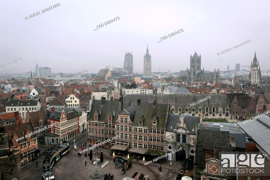 """Stock Photo: City view from Het Gravensteen, """"""""Castle of the Counts"""""""", seat of the counts of Flanders overlooks the city centre of Gent, Belgium."""