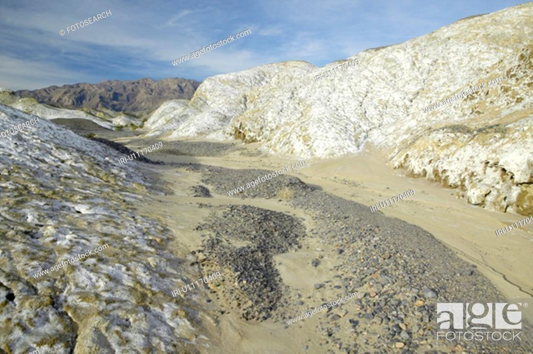 Stock Photo: Salt Flats in the spring of Death Valley National Park, CA.