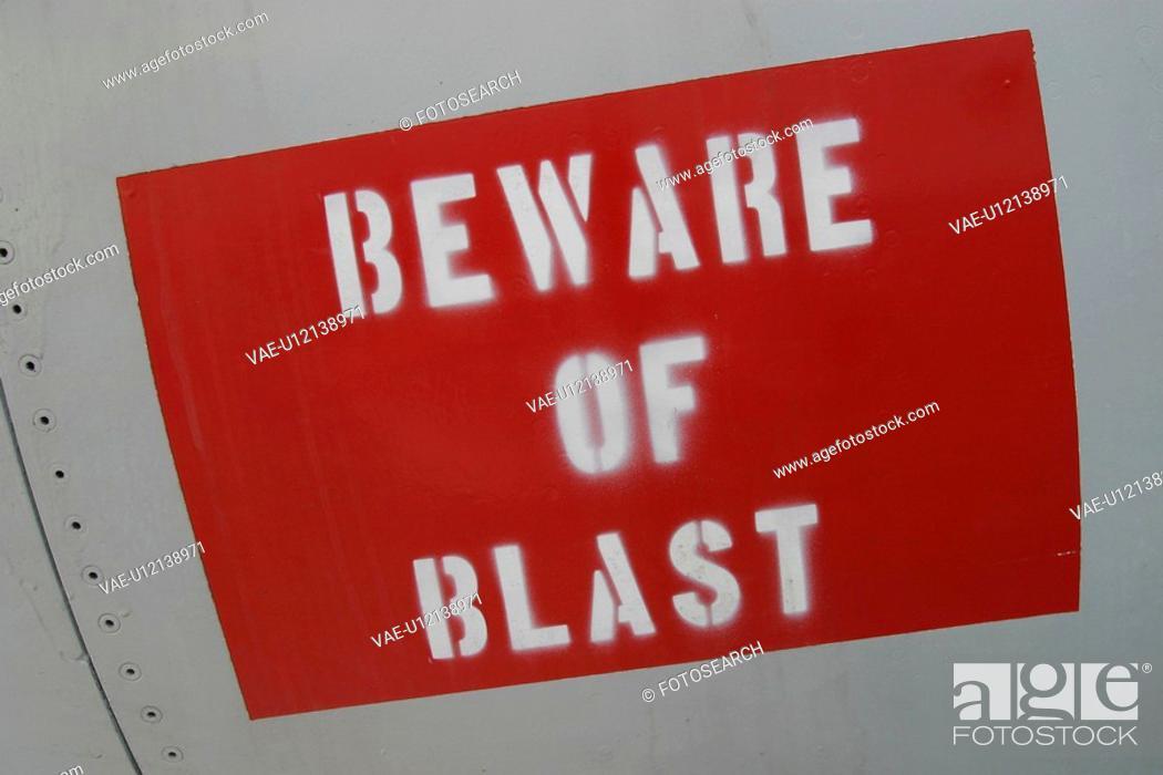 Stock Photo: sign, hazard, message, beware of blast, paint, information.