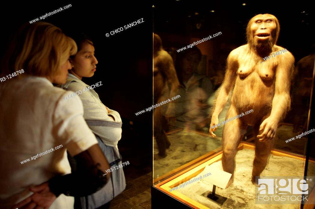 Stock Photo: Tourists look at an statue of an Australopithecus Afarensis as they visit the National Museum of Anthropology in Mexico City.