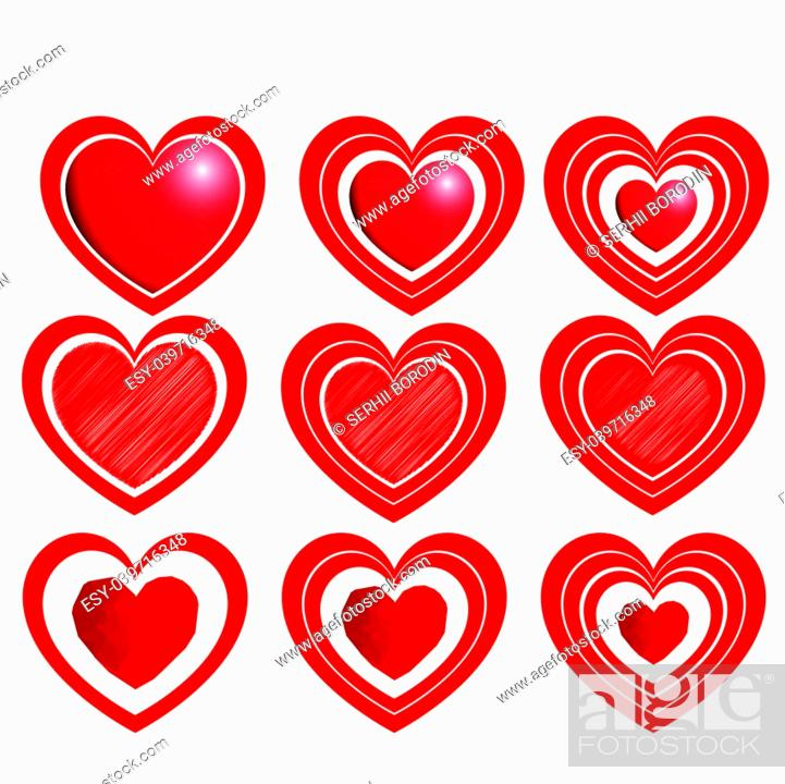 Stock Vector: Heart set for Valentine days Red color with one two three path.