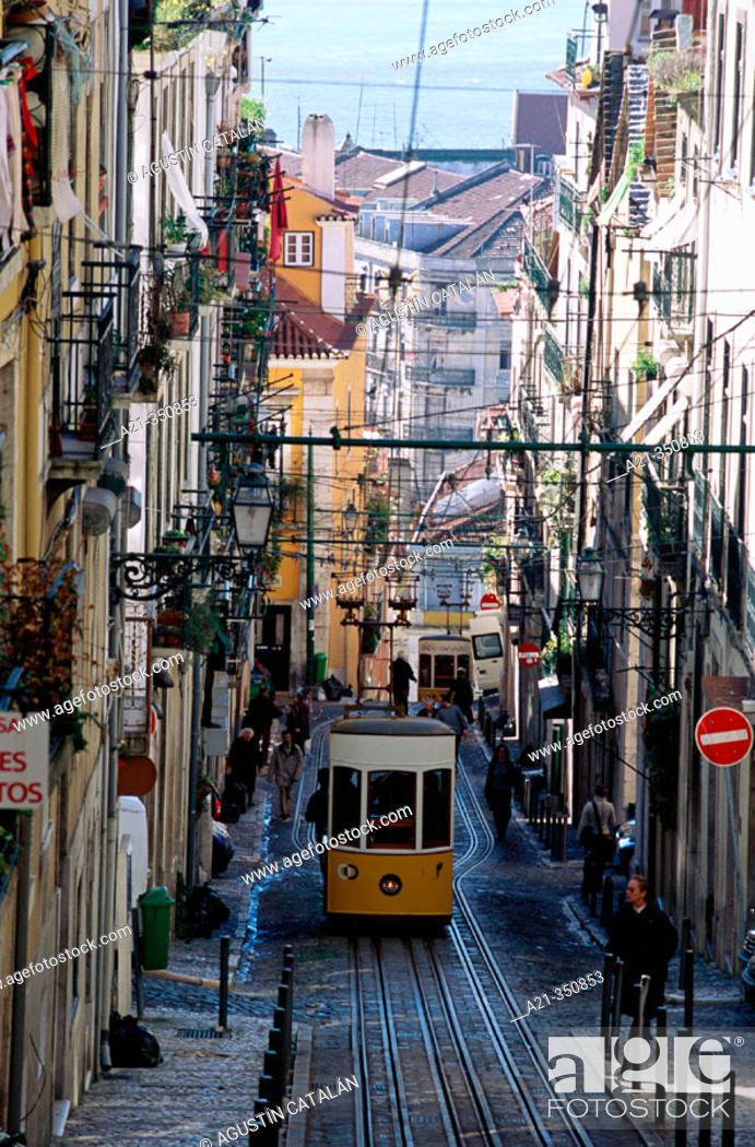 Stock Photo: Bica cable car from Chiado Alto. Lisbon. Portugal.