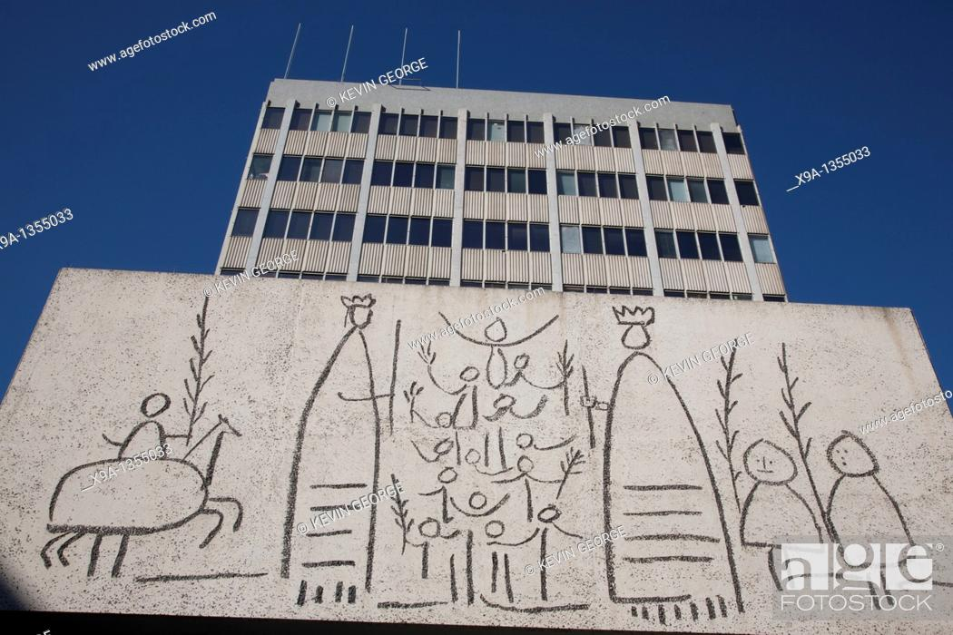 Stock Photo: Picasso Mural on the Architects Association in Nova Square, Barcelona.