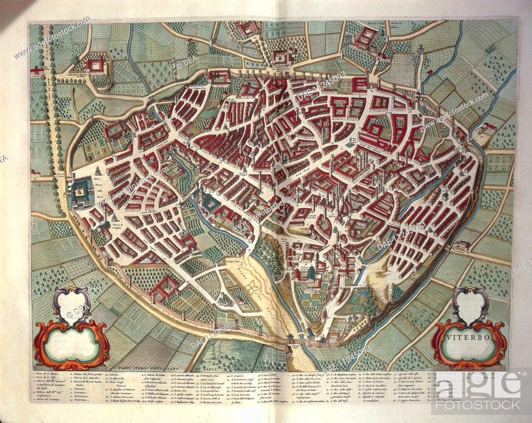 Cartography Italy 17th Century Map Of Viterbo From Theatrum