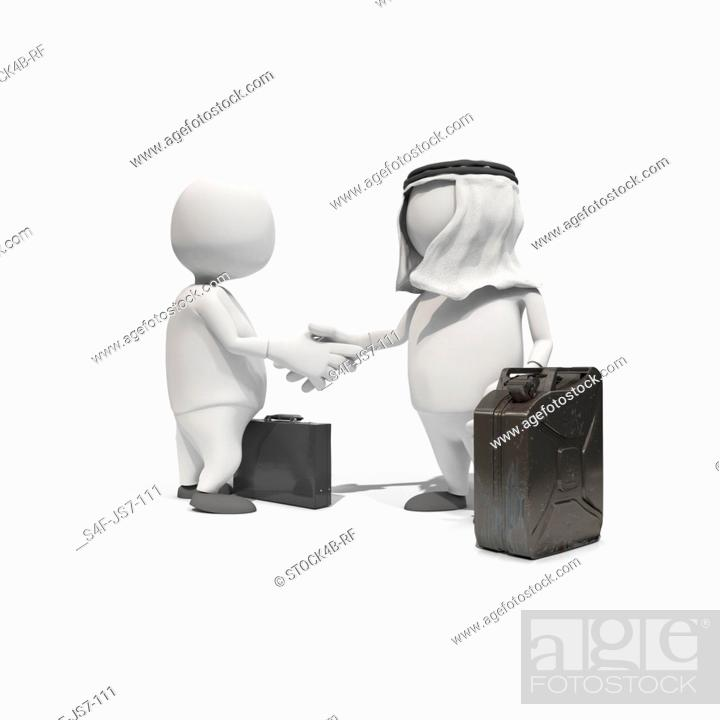 Stock Photo: Anthropomorphic figures with fuel can and briefcase shaking hands, CGI.