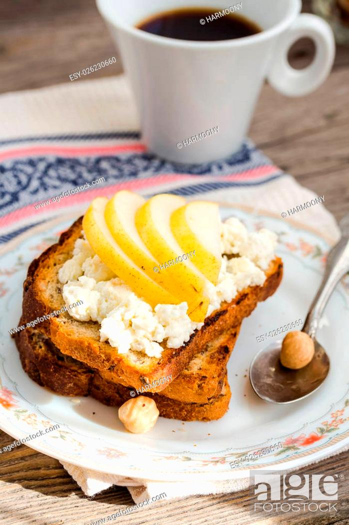 Stock Photo: toast for breakfast with sweet cream cheese and pear, coffee, rustic, selective focus.