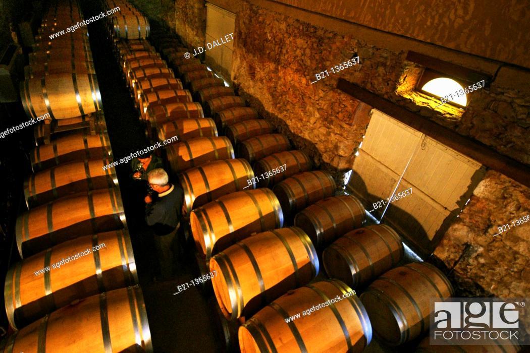 Stock Photo: Chateau de Sabazan wine cellars at the Saint Mont AOC, Gers, Midi-Pyrenees, France.