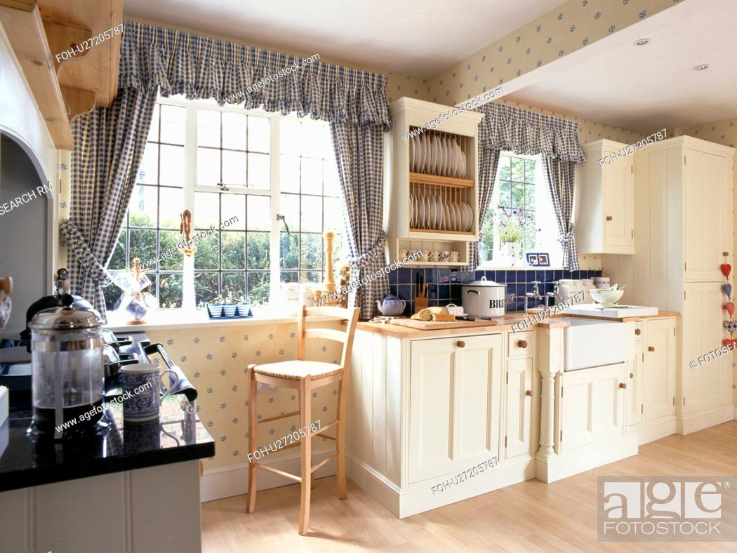 Blue Checked Curtains On Window In Cream Country Kitchen Stock Photo Picture And Rights Managed Image Pic Foh U27205787 Agefotostock