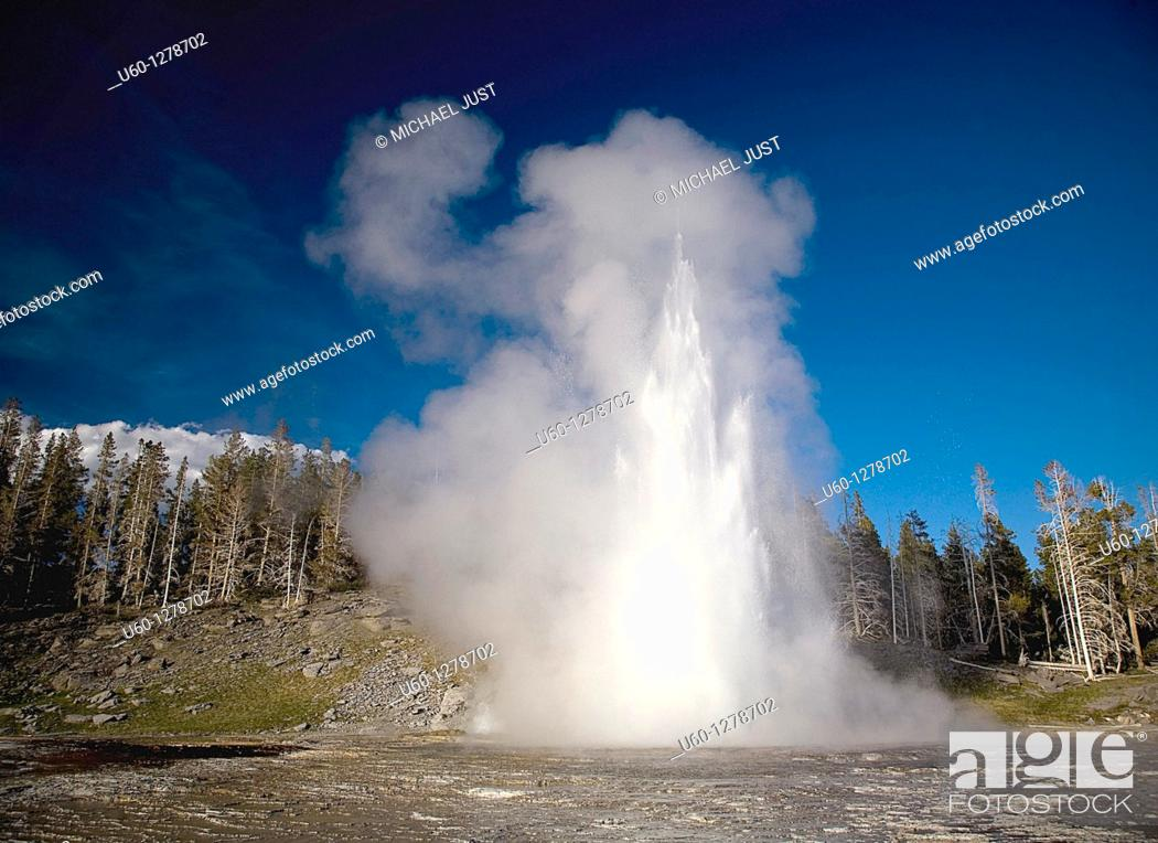 Stock Photo: Grand Geyser erupts at The Upper Geyser Basin at Old Faithful at Yellowstone National Park, Wyoming.
