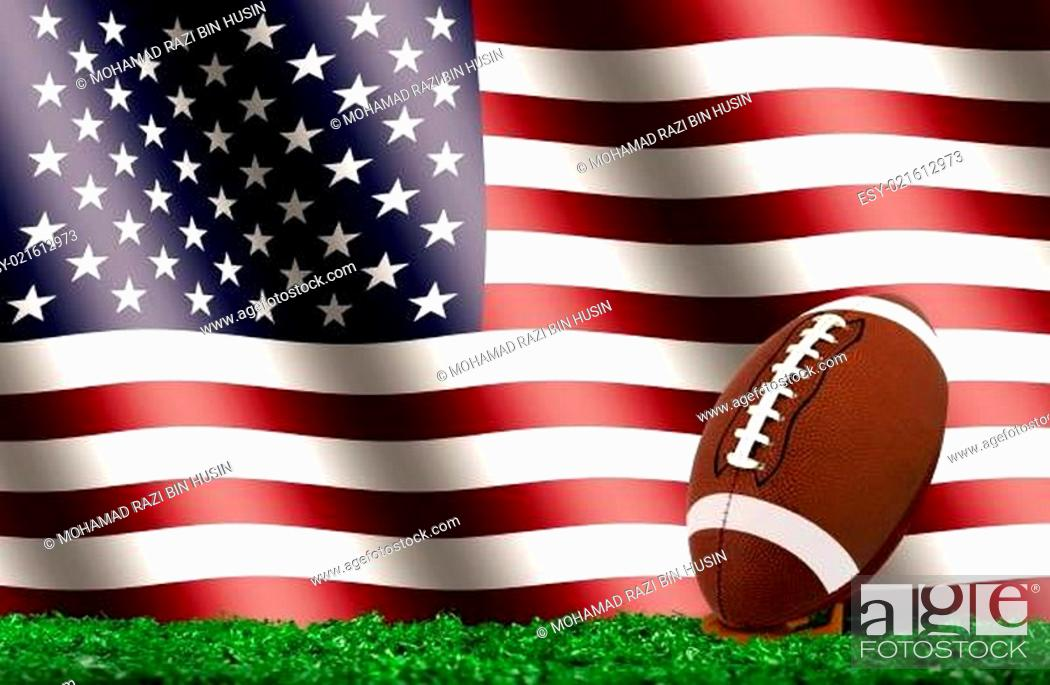 Imagen: Football Ball on Grass with American Flag.