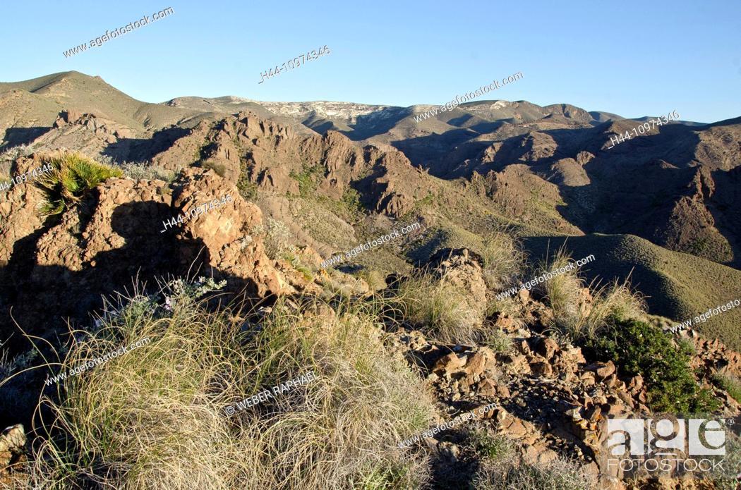Stock Photo: Spain, Cabo de Gata, nature reserve, Almeria, Las Negras, steppe, mountains, volcano, morning.