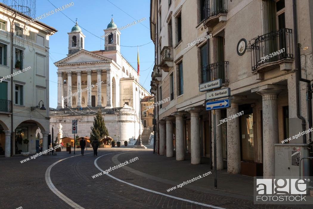Stock Photo: Important presence of the cathedral in the city center. Schio, Veneto. Italy.