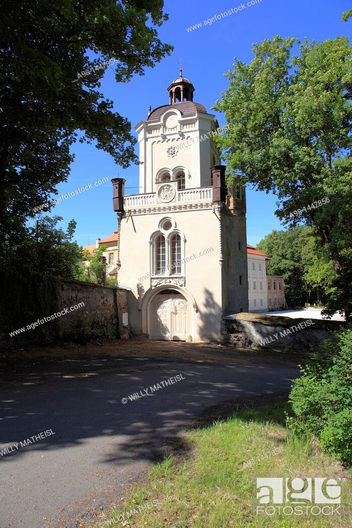 Stock Photo: restored tower and entrance gate of historic castle at the village Bystrice Nad Uhlavou, Bohemia, Czech Republic, Europe.