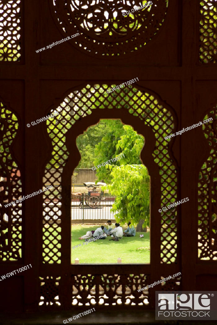 Stock Photo: High angle view of a group of people sitting on the lawn, Government Central Museum, Jaipur, Rajasthan, India.